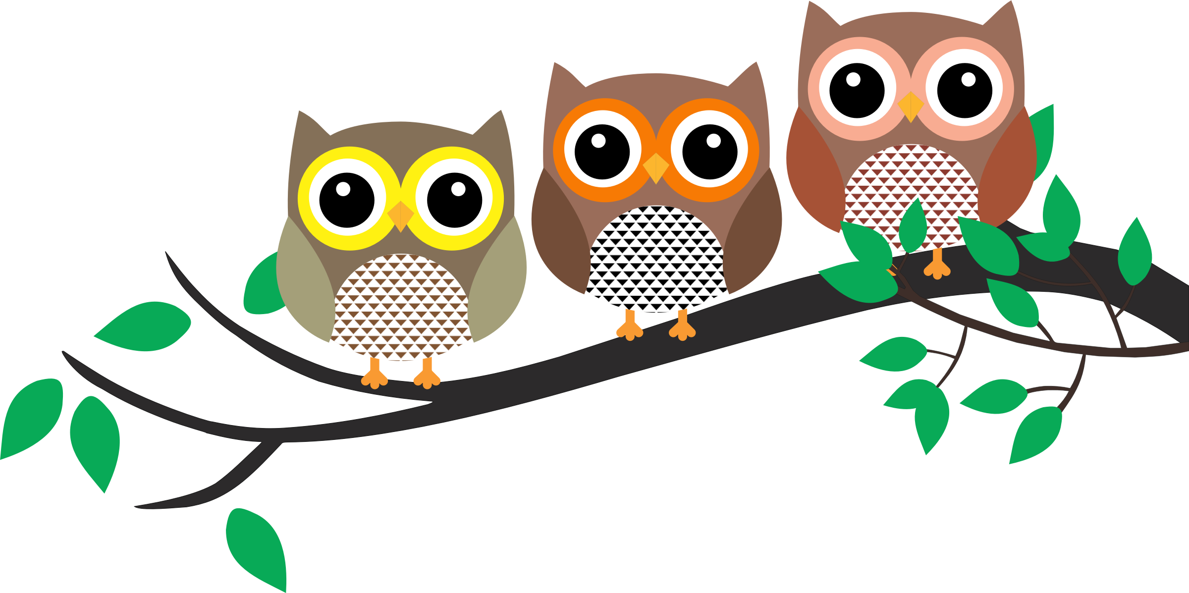 Three owls in a. Tree clipart owl