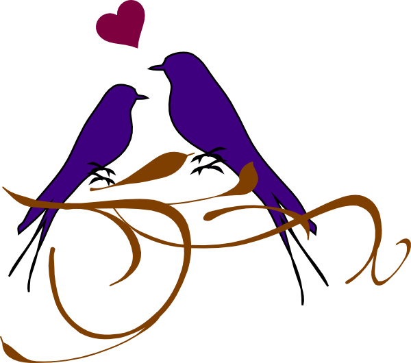 Birds on a branch. Clipart wedding dtp