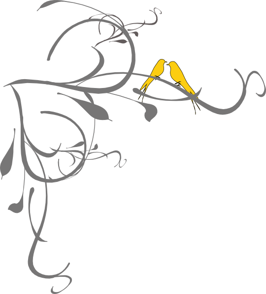 Birds on a branch. Clipart wedding yellow