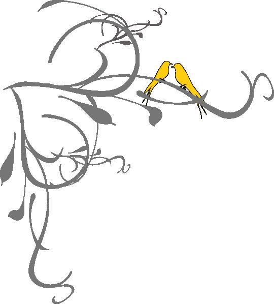 Birds on a branch. Clipart tree wedding