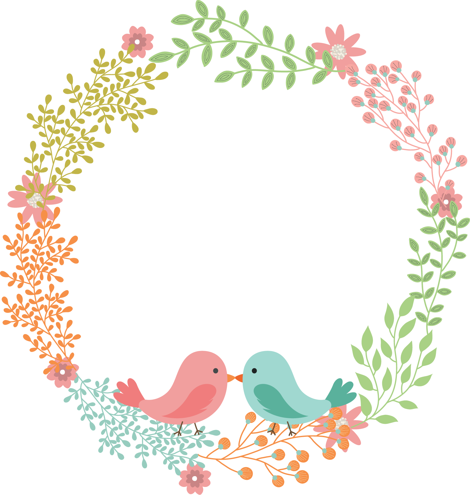 Napkin flower wreath love. Label clipart wedding invitation