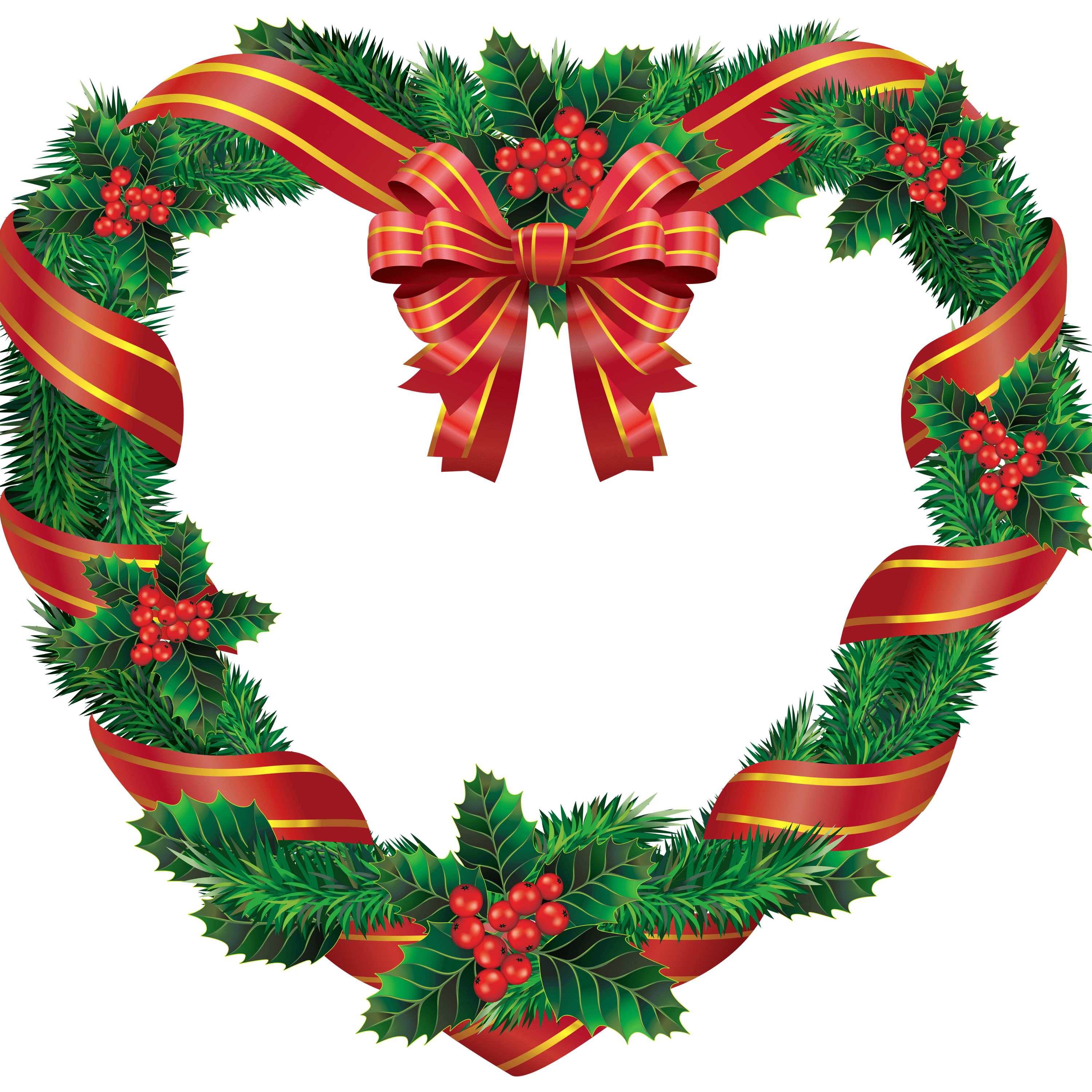 Free clipart wreath. Heart christmas transparent png