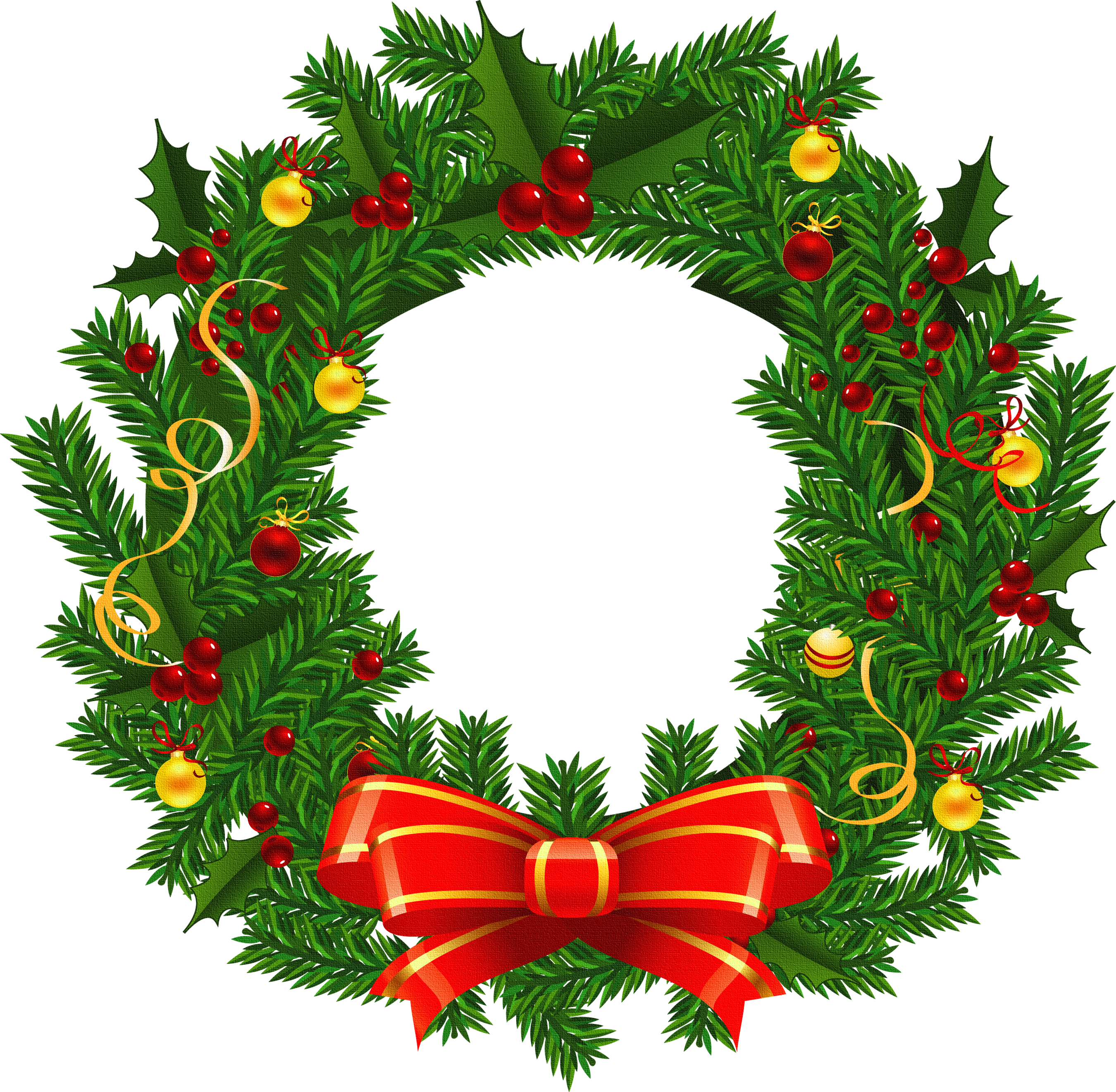 Xmas wreath clipartfest christmas. Woodland clipart garland
