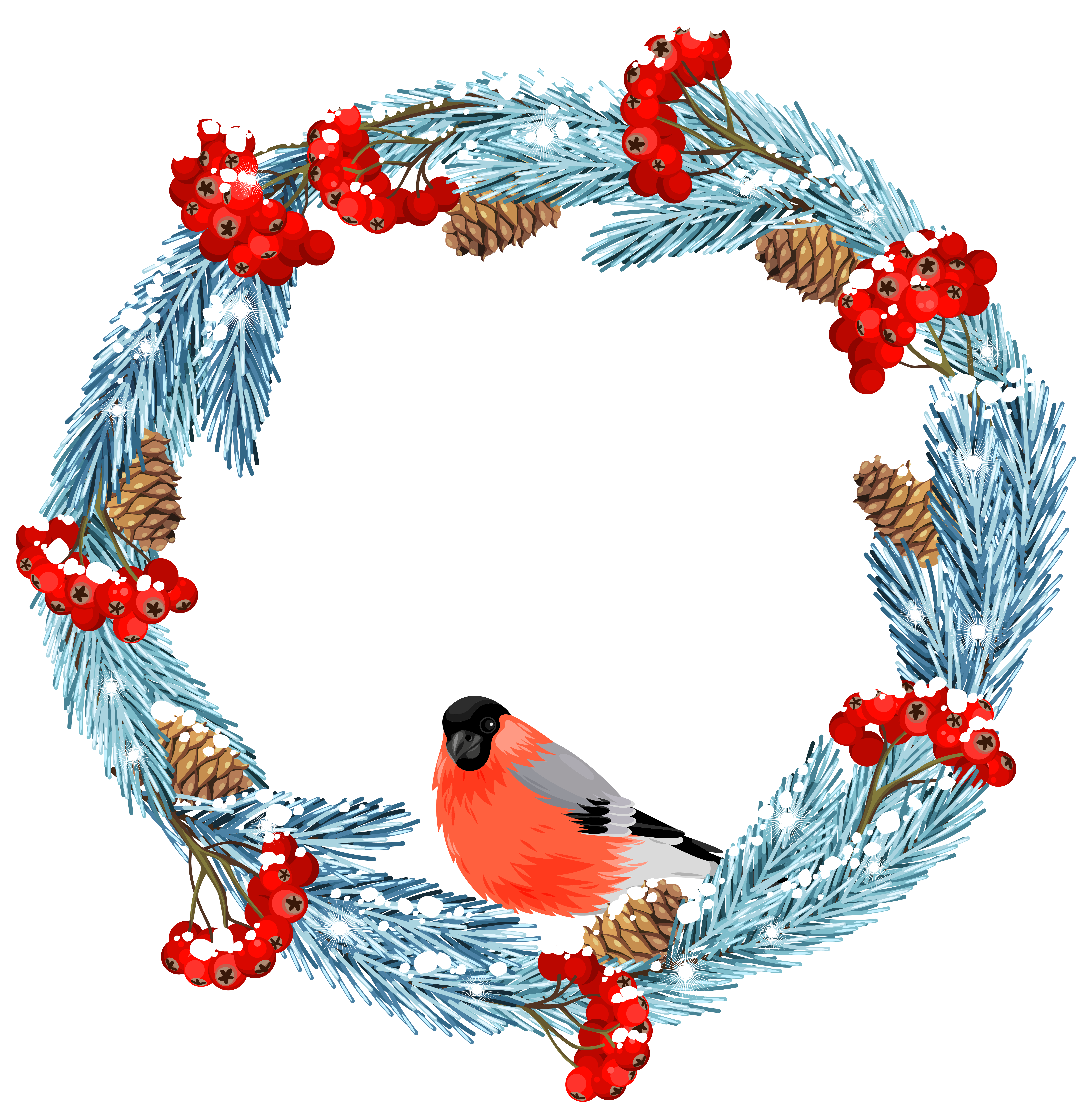 Blue wreath with bird. Clipart cross winter