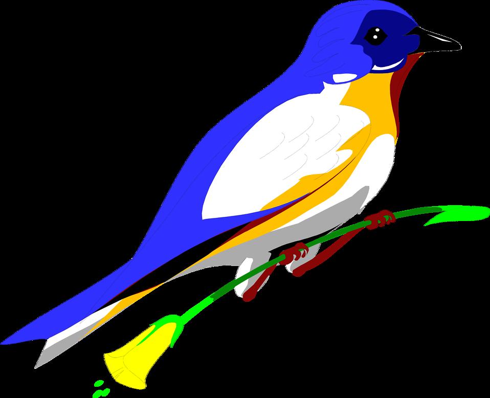Clipart birds yellow. Bird blue free stock