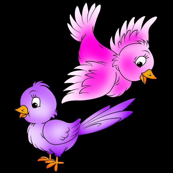 Cute love birds cartoon. Lunchbox clipart purple