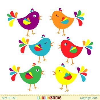 Clipart bird cute. Clip art birds colorful
