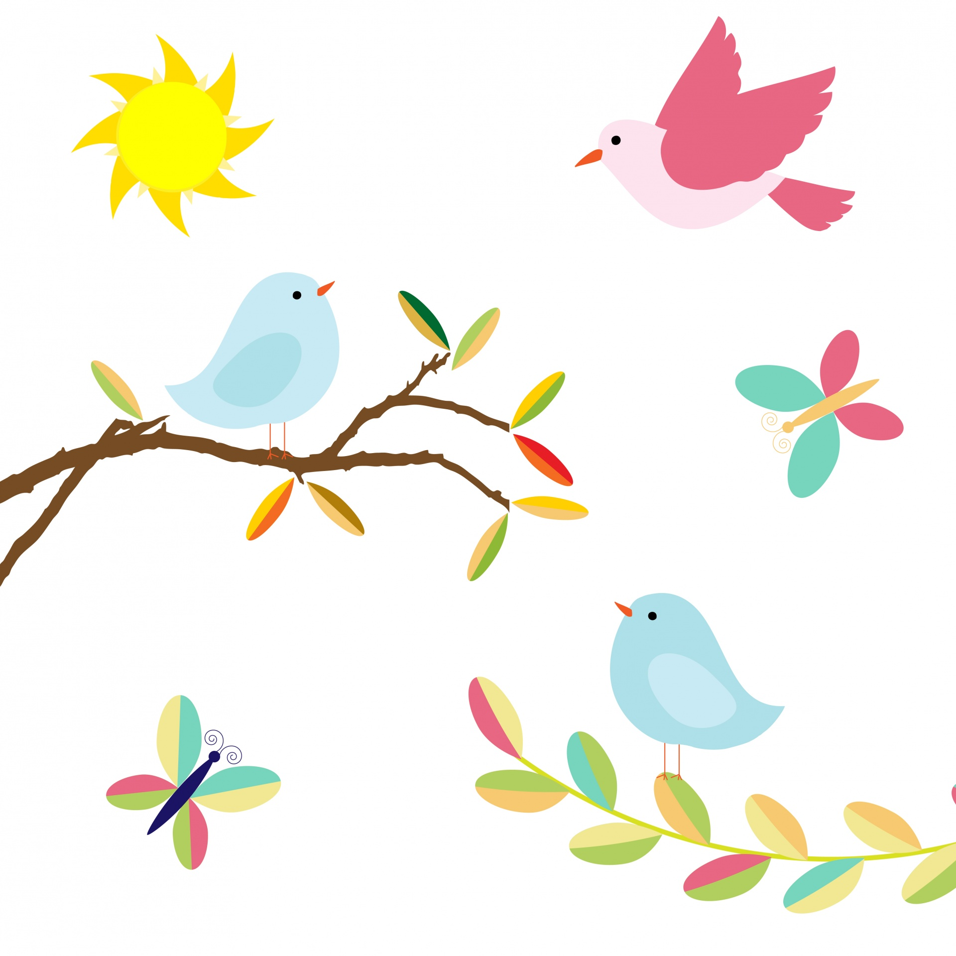 Clipart birds. Illustration free stock photo