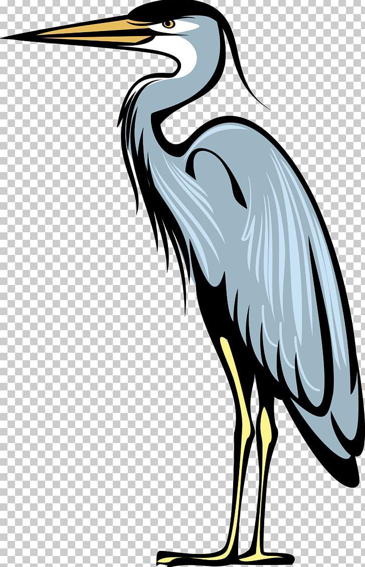 Great blue bird heraldry. Crane clipart heron