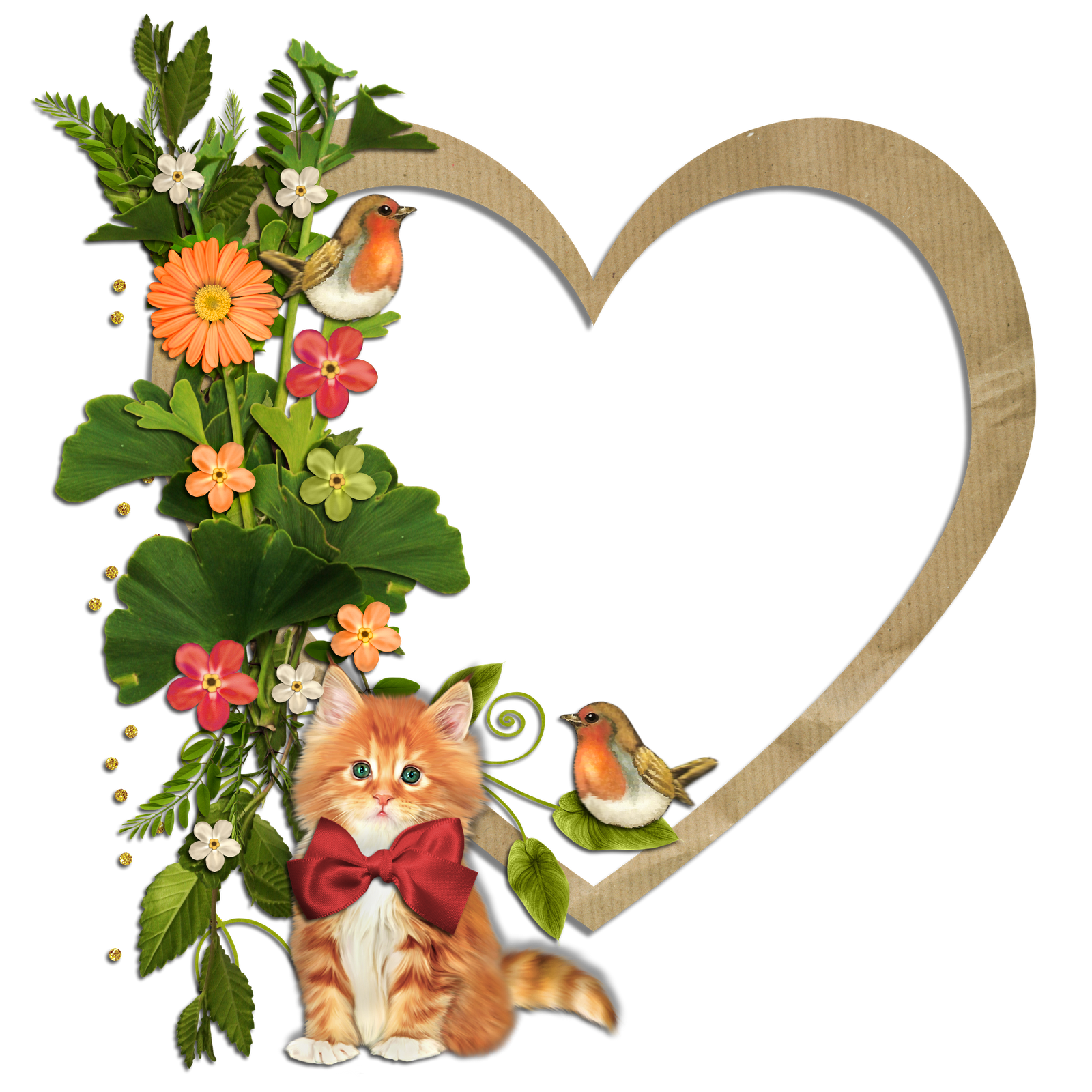 Kitty birds and flowers. Clipart cat floral