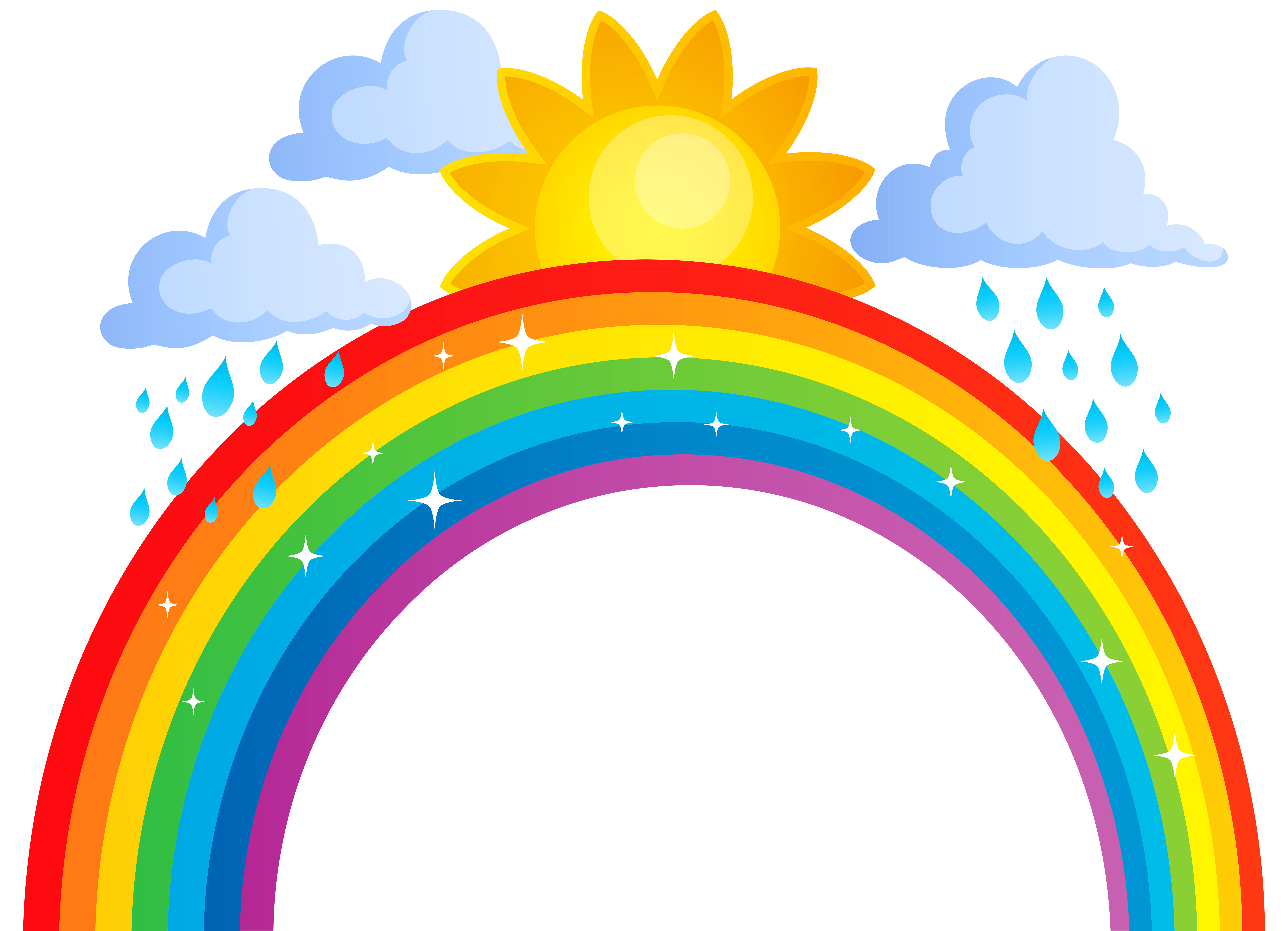 Clipart rainbow printable. Sun and clouds png