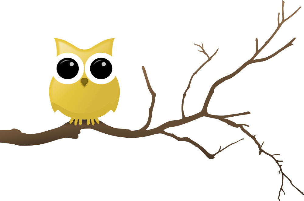 Tree clipart owl. Yellow on branch rooweb