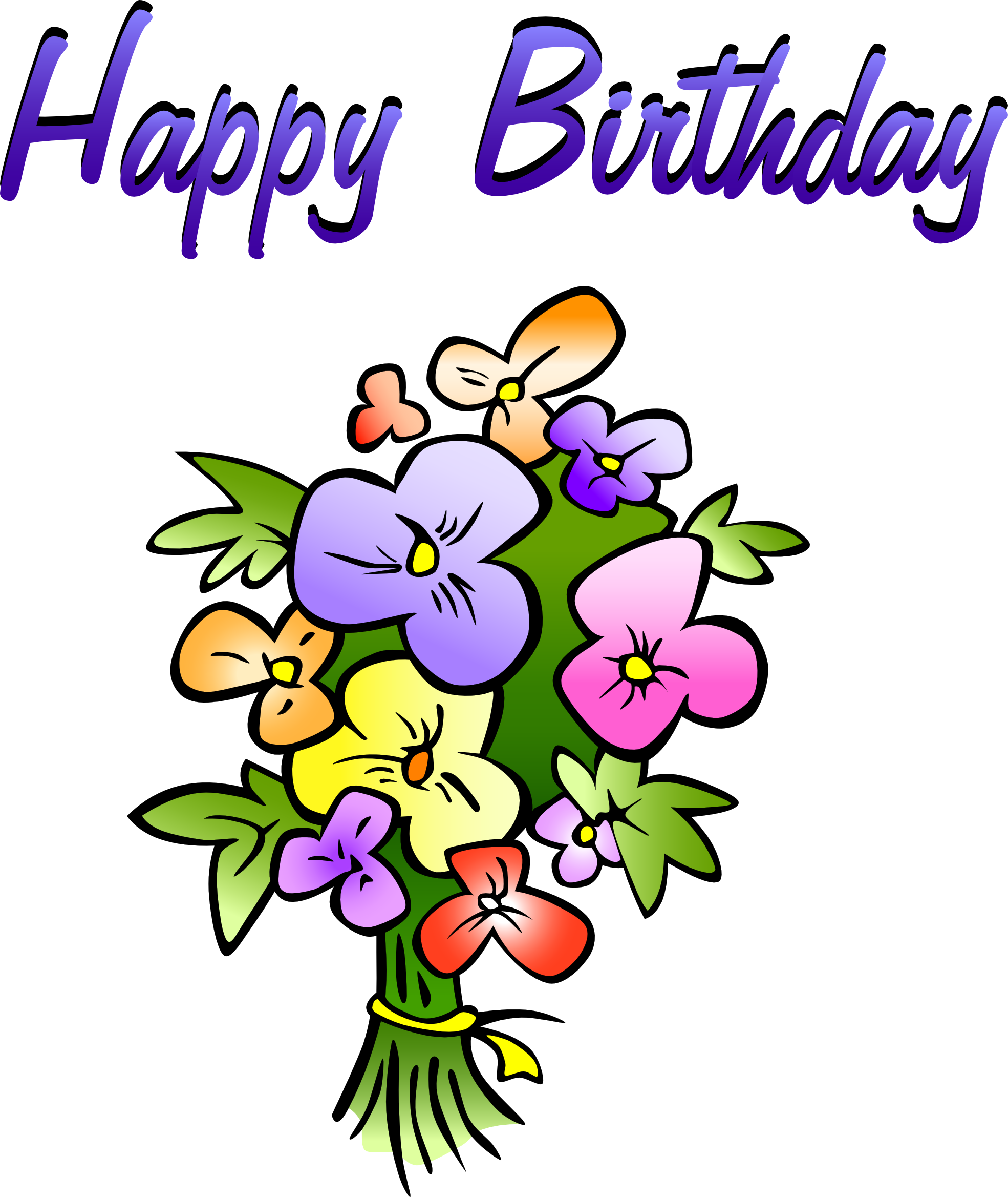 Congratulations clipart congratulation word. Happy birthday flowers pi