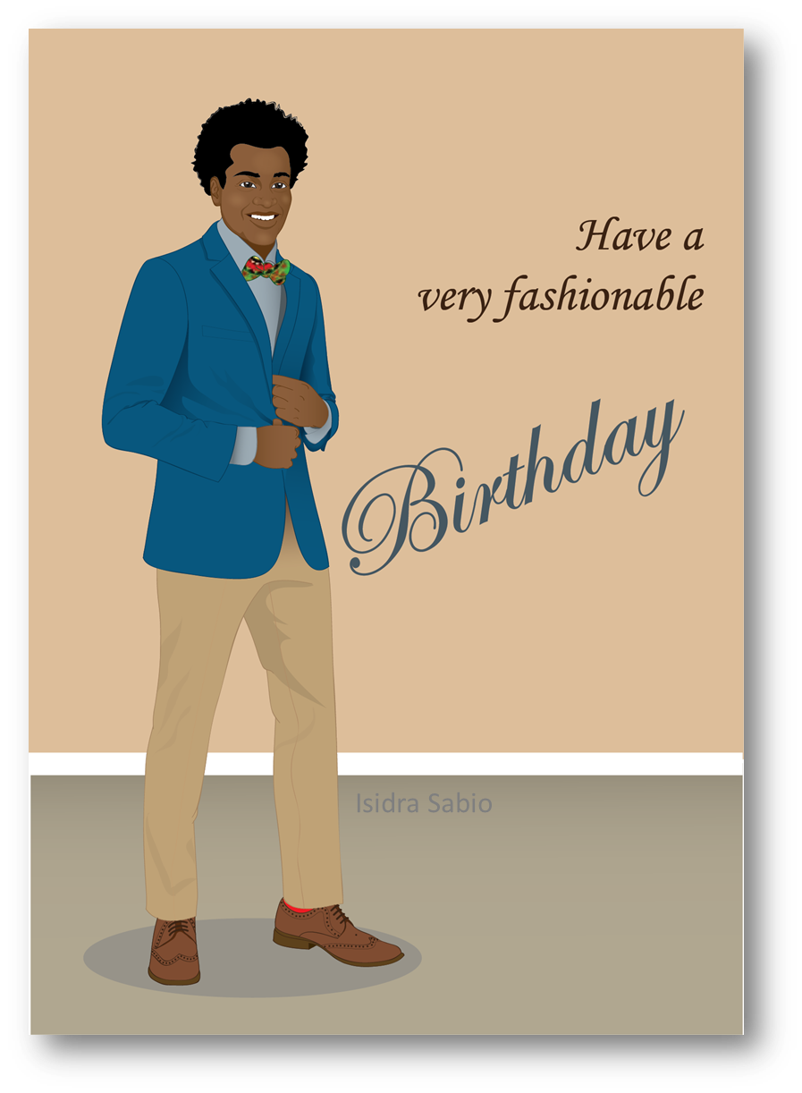 Young clipart man standing. Happy birthday african american
