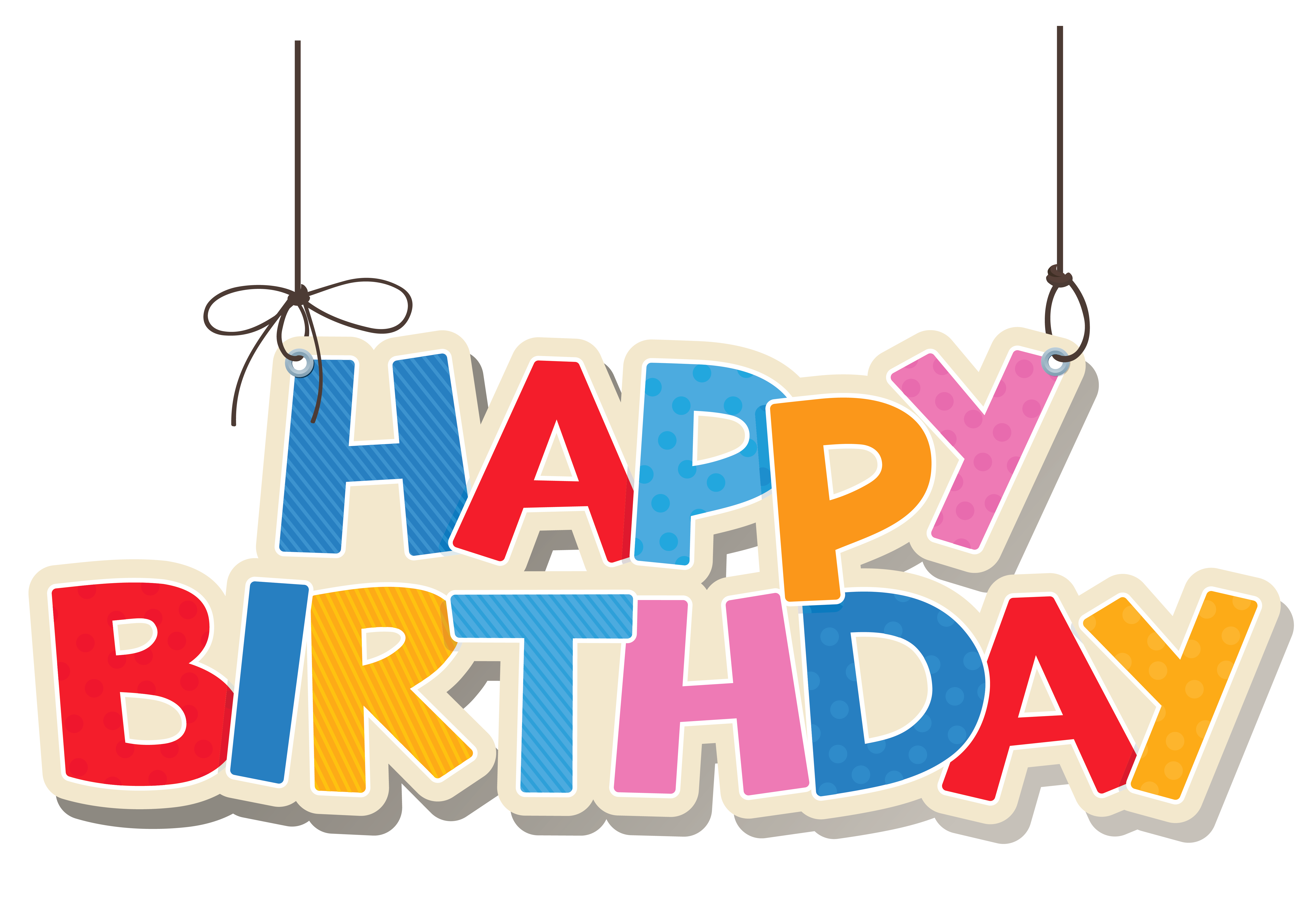 Hanging colorful happy birthday. Congratulations clipart boss