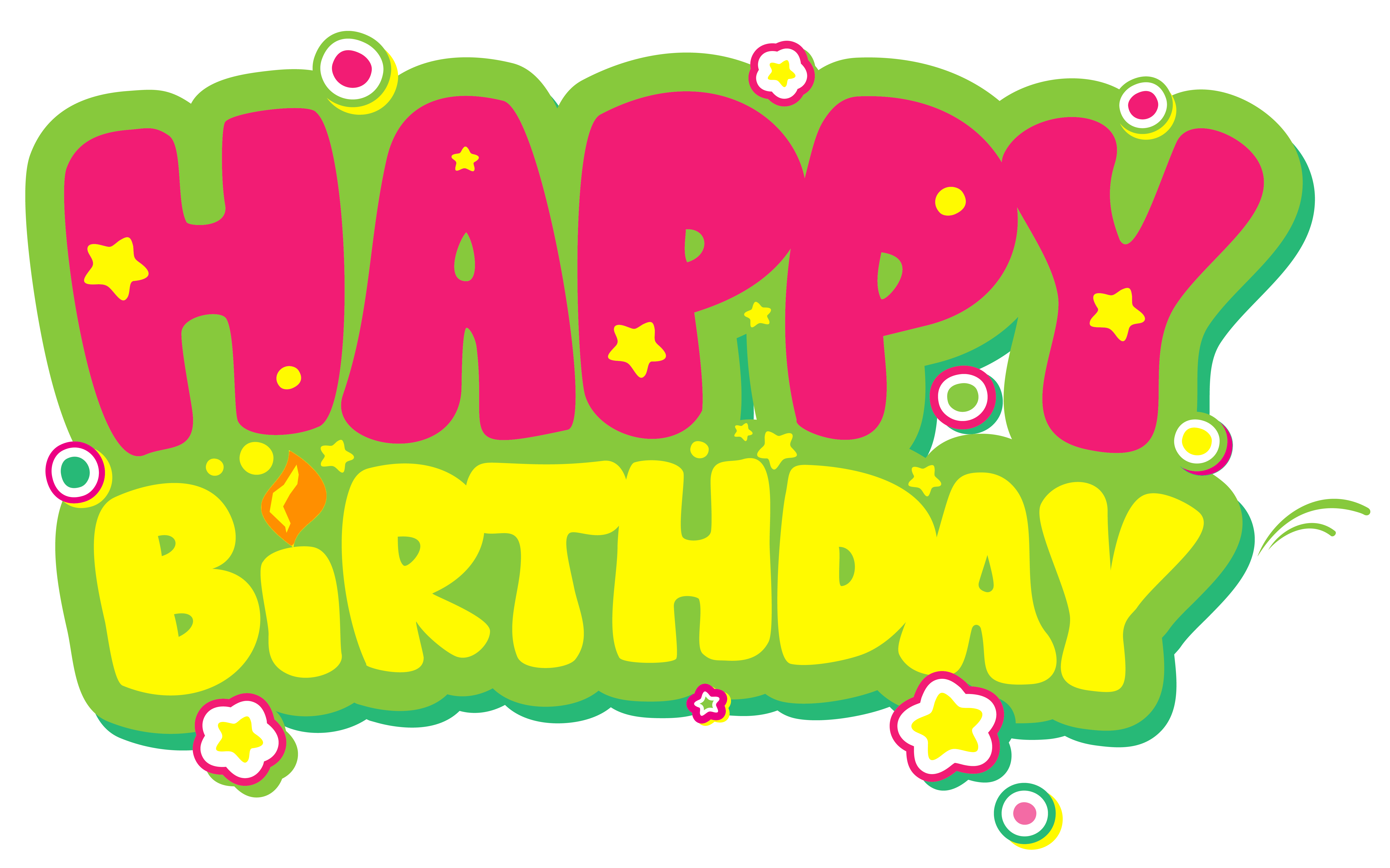 Clipart png happy birthday. Yellow and pink picture