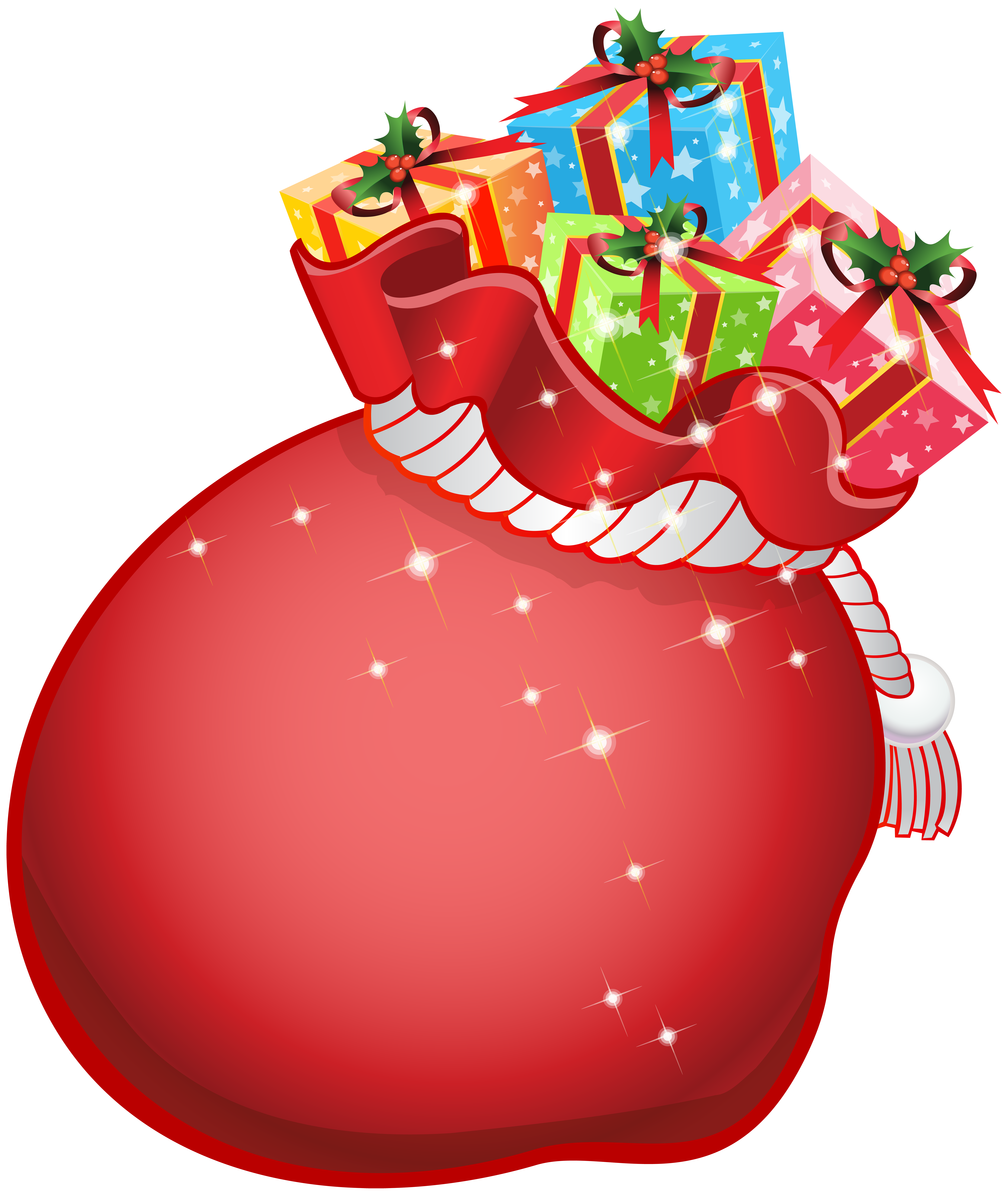 Santa with gifts transparent. Clipart present christmas gift bag