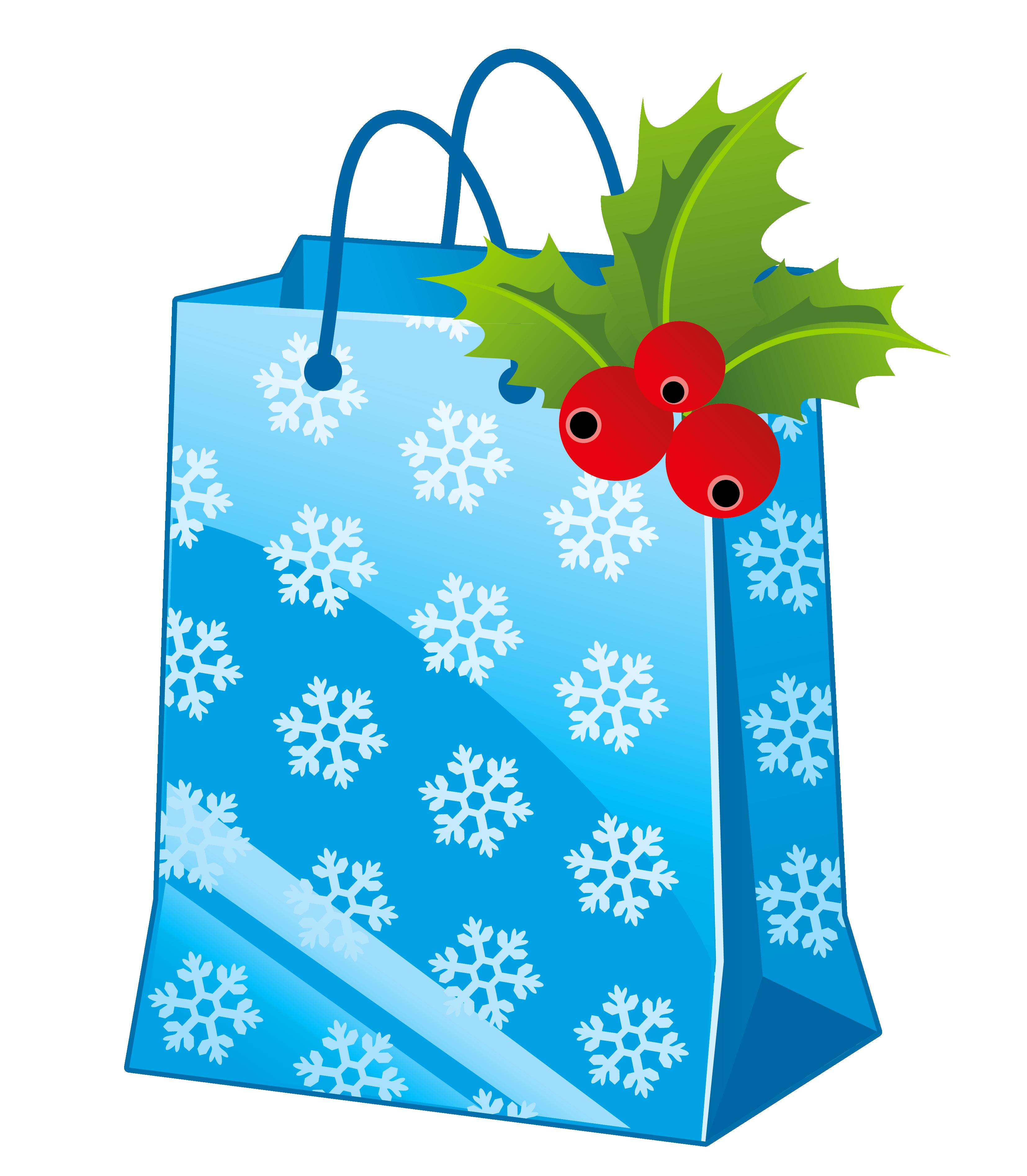 Clipart birthday bag. Transparent christmas blue gift