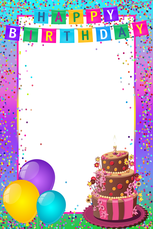 Happy transparent multicolor frame. Birthday border png