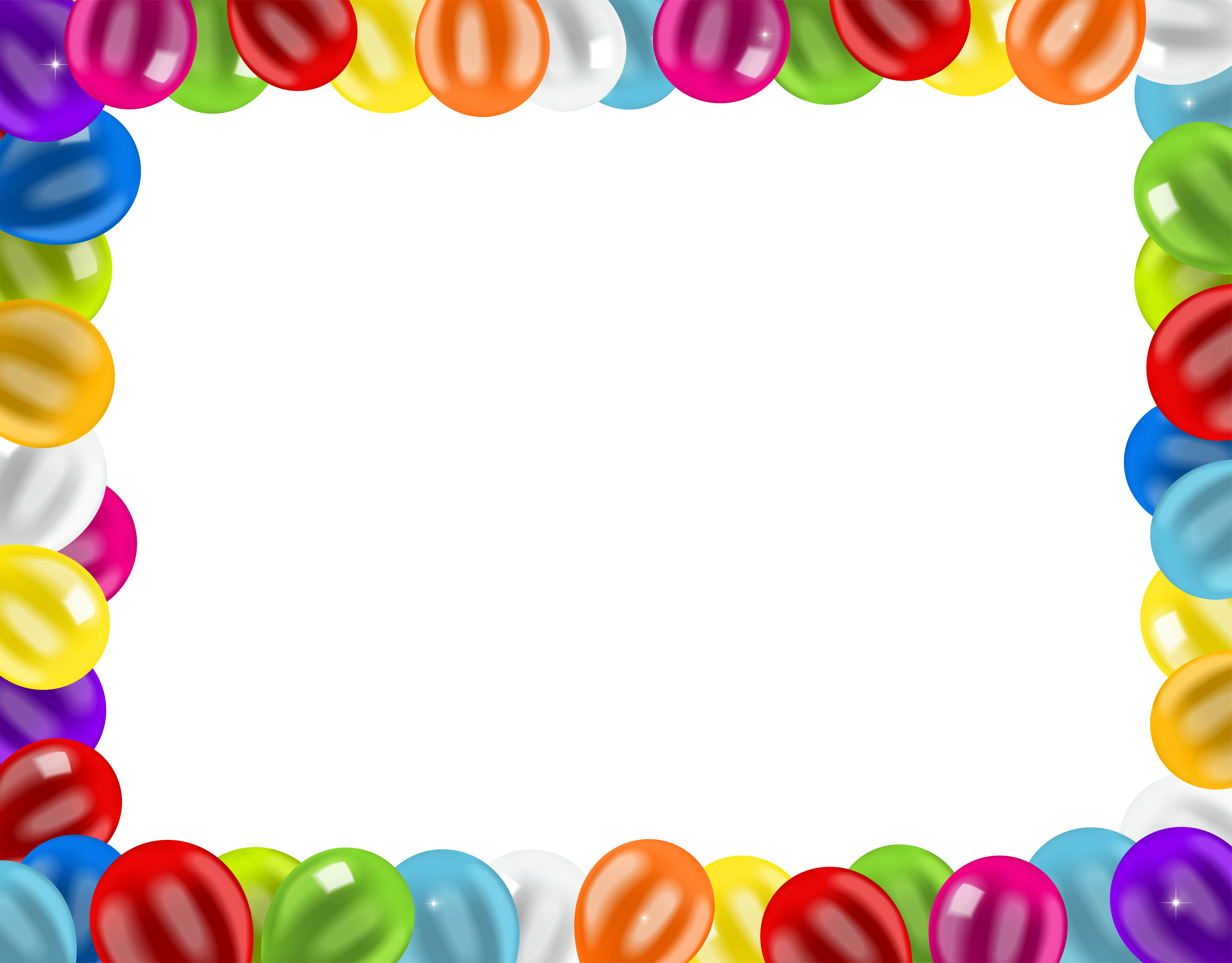 Birthday border png. Frame with balloons clip