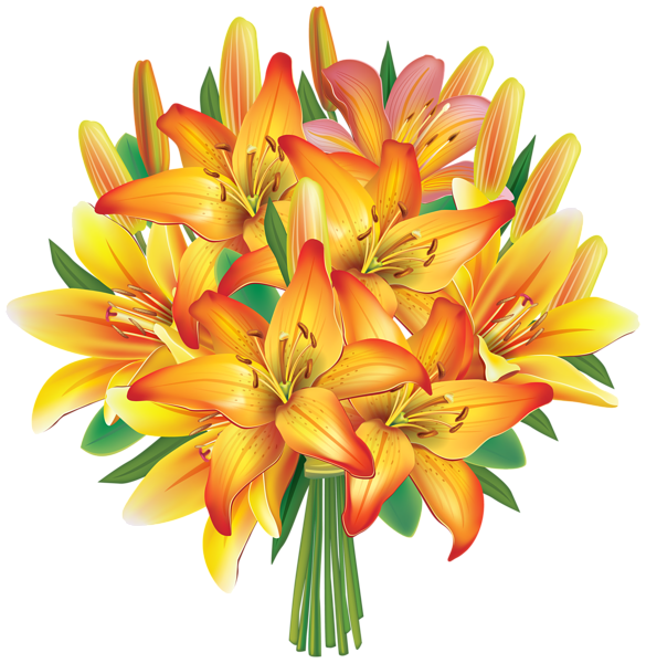 Lily clipart flower bunch. Yellow lilies flowers bouquet