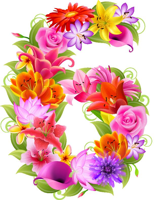 d a e. Flowers clipart number