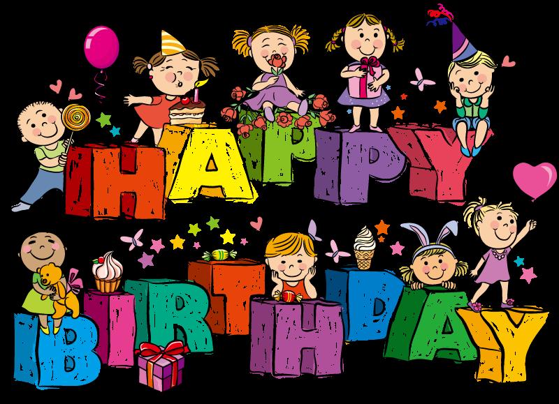 Cartoon vector material wordart. Clipart birthday children's
