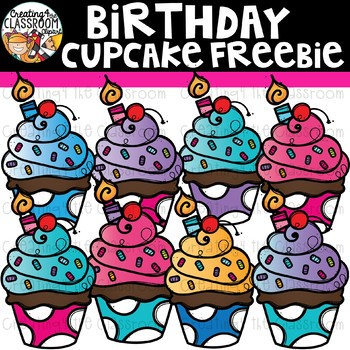 Cupcake freebie by . Clipart birthday classroom