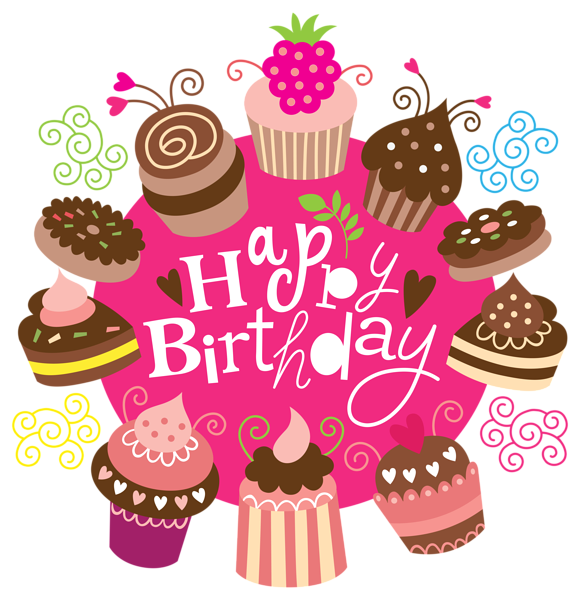 Happy birthday with cakes. Surprise clipart cake