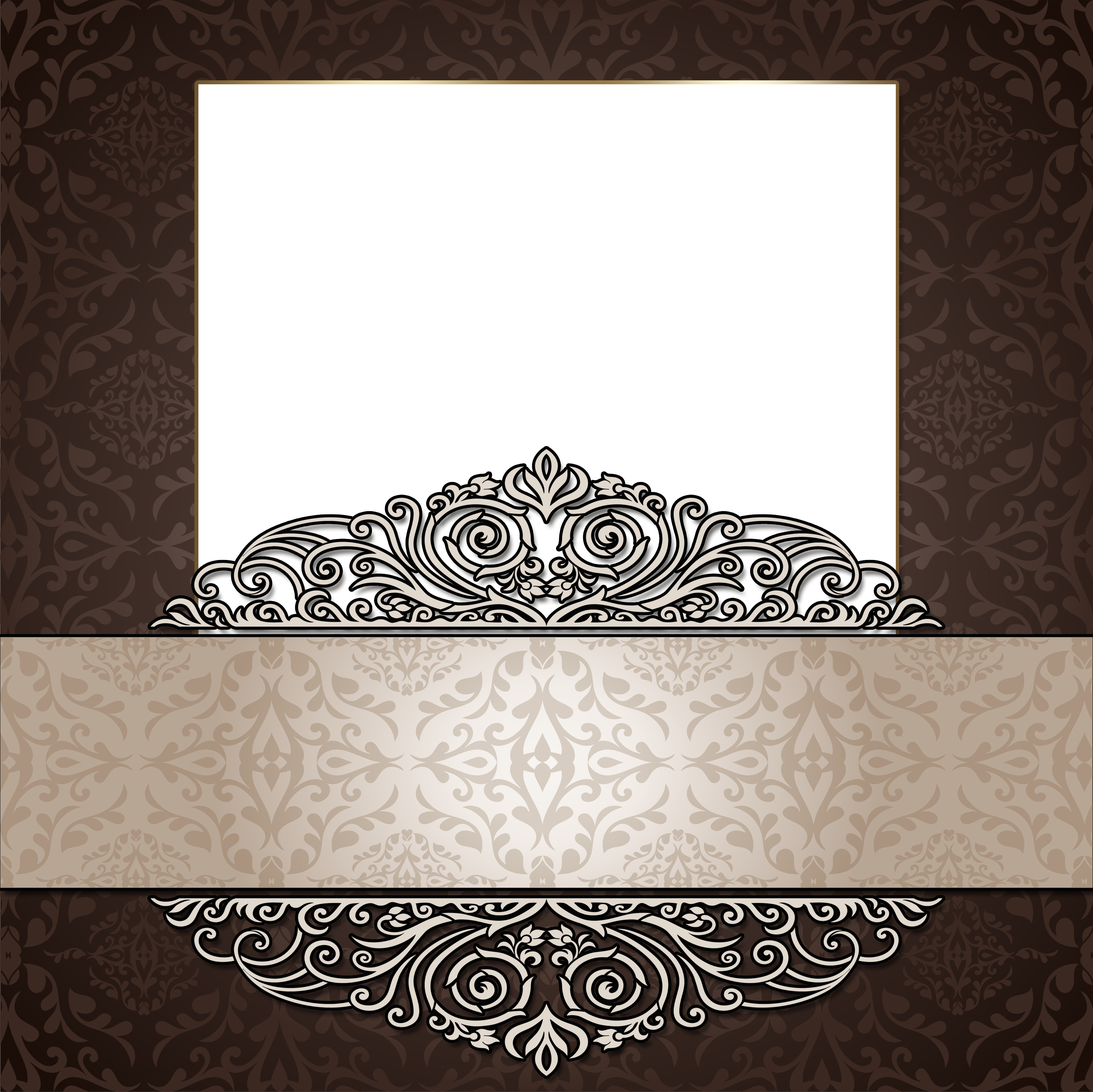 Transparent brown photo gallery. Elegant frame png