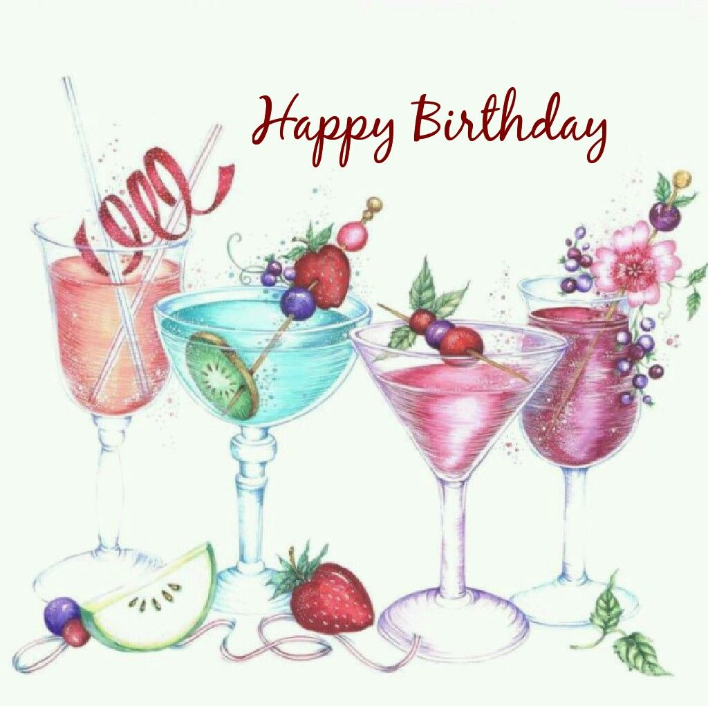 Happy greetings . Cocktail clipart birthday