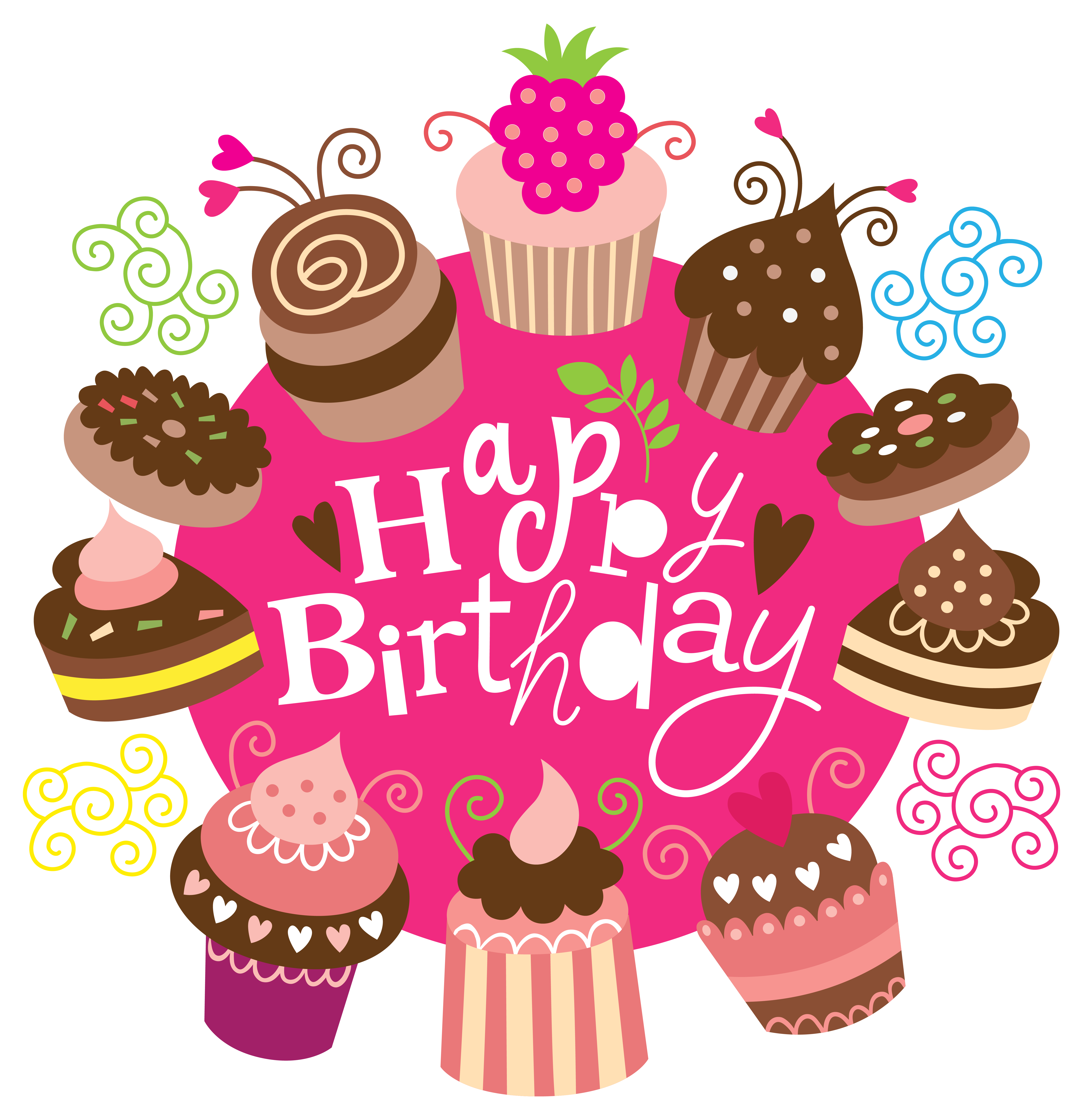 Happy birthday with cakes. Food clipart friend