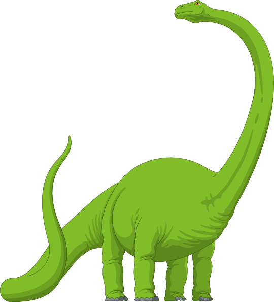 Long neck brachiosaurus green. Clipart birthday dinosaur