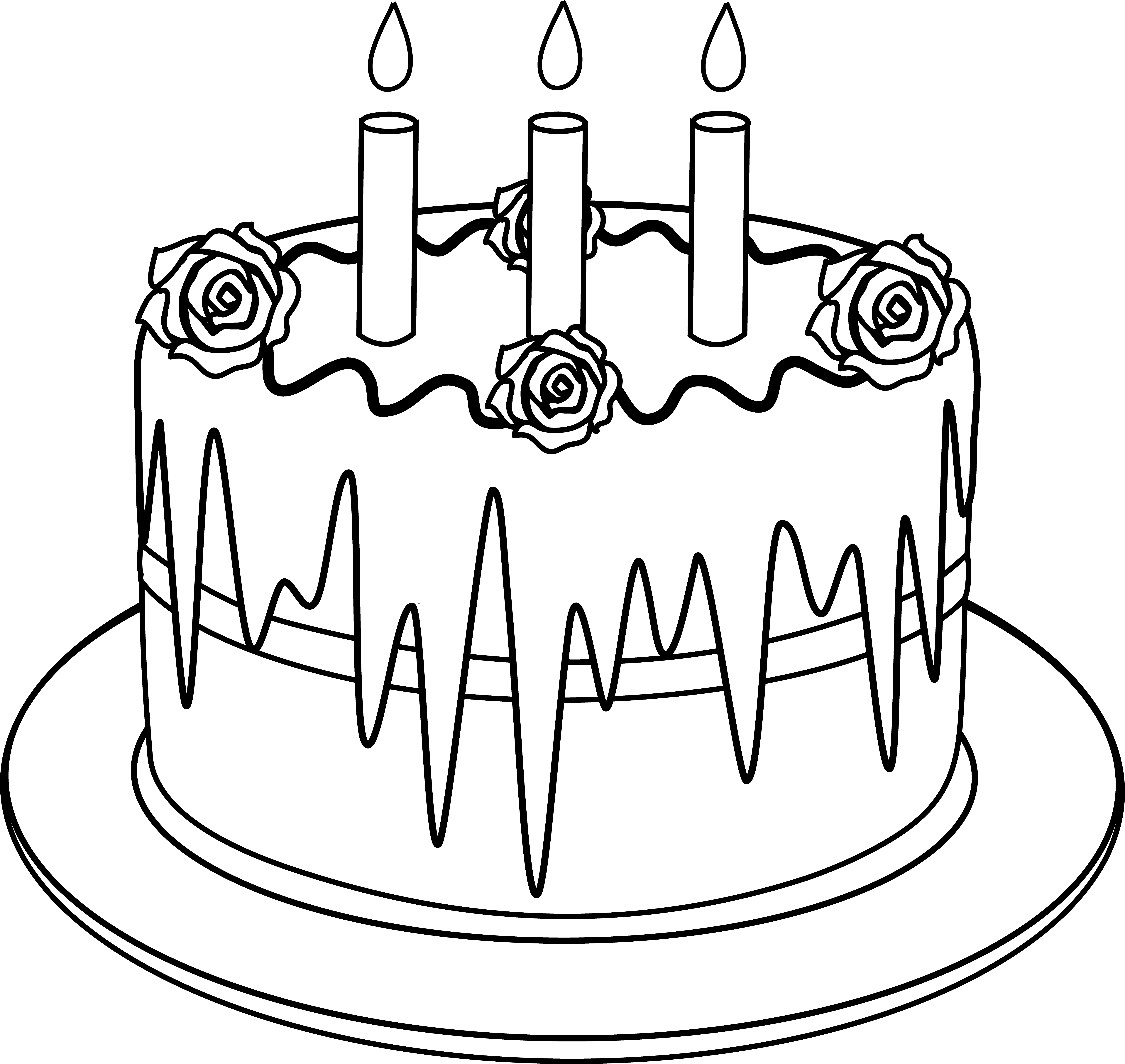 Colorable line art of. Clipart cake drawing
