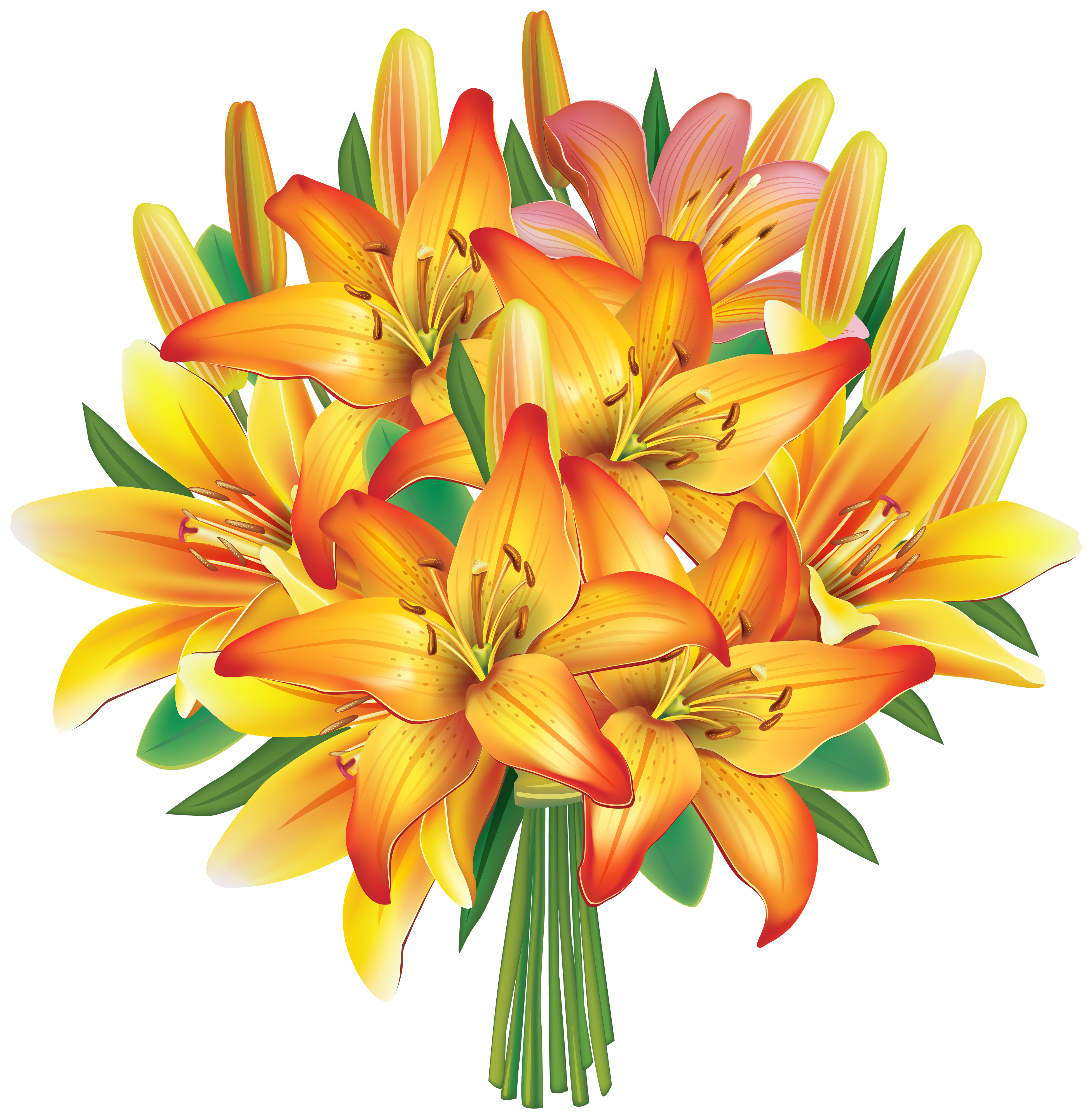 Clipart birthday floral. Yellow lilies flowers bouquet