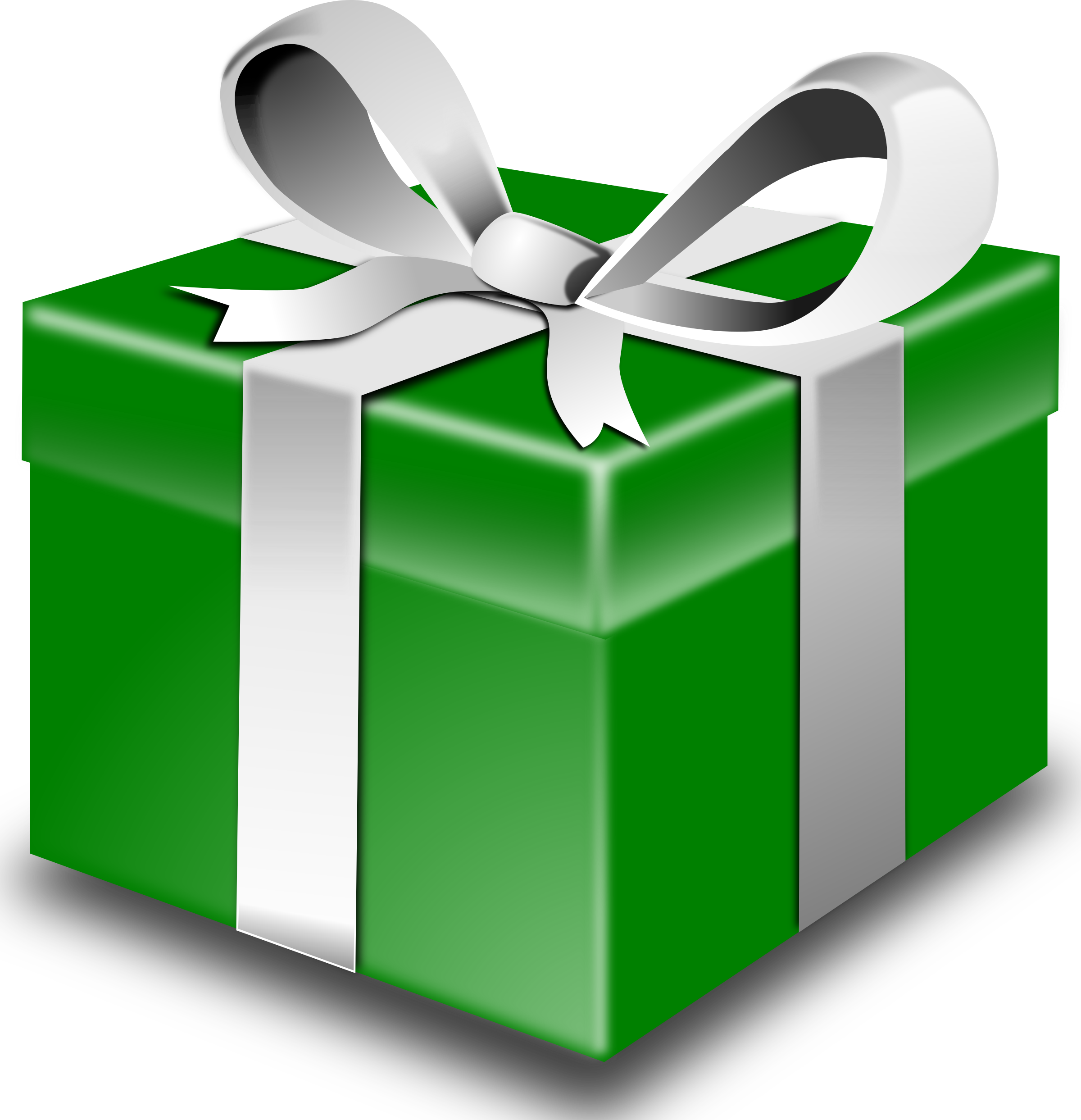 Green. Gift clipart big present