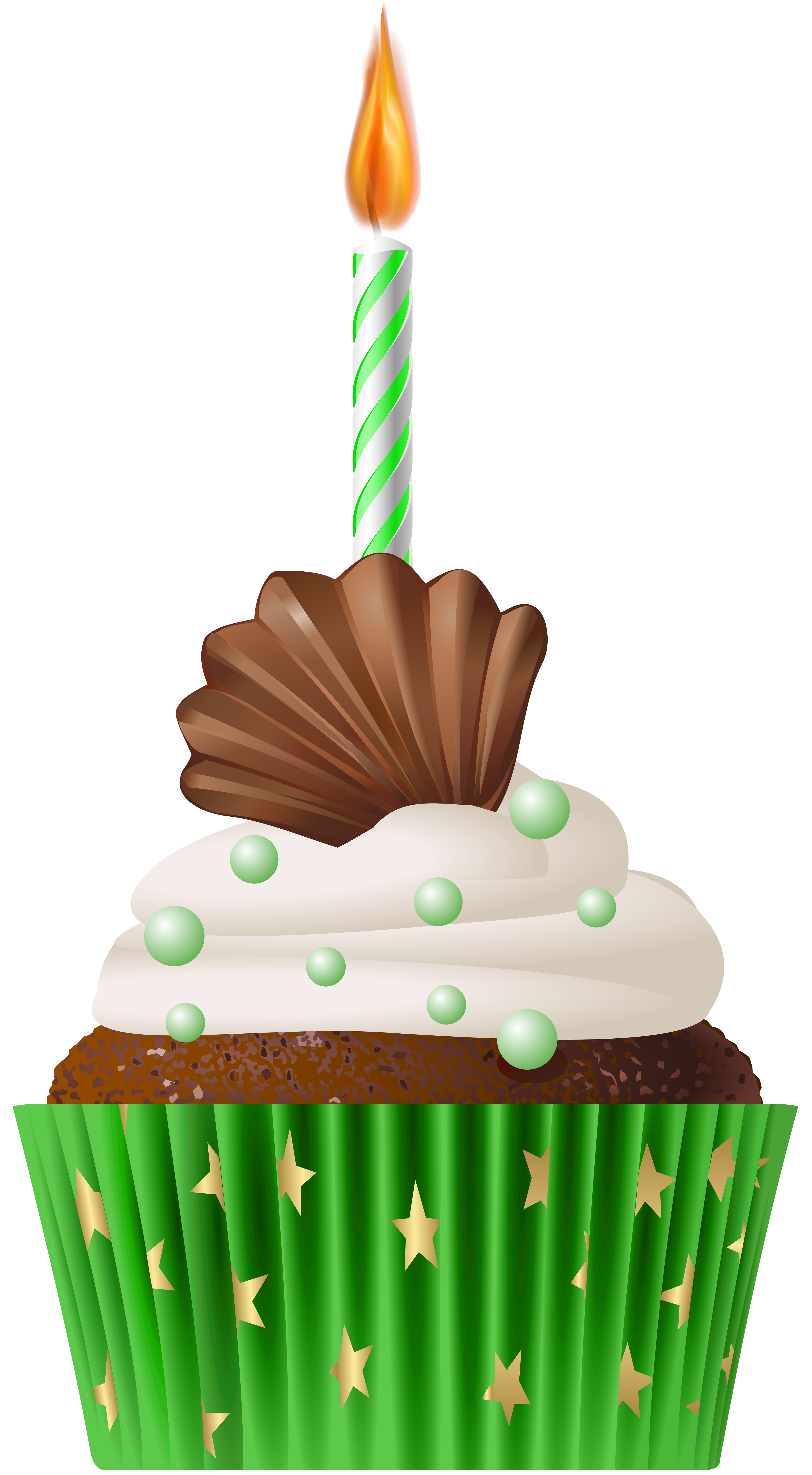 Muffin green with candle. Muffins clipart cupcake birthday