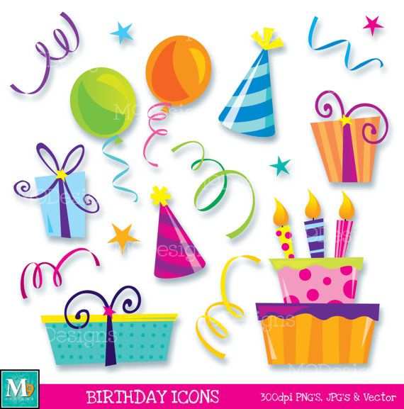 Happy icons illustrations instant. Clipart birthday icon
