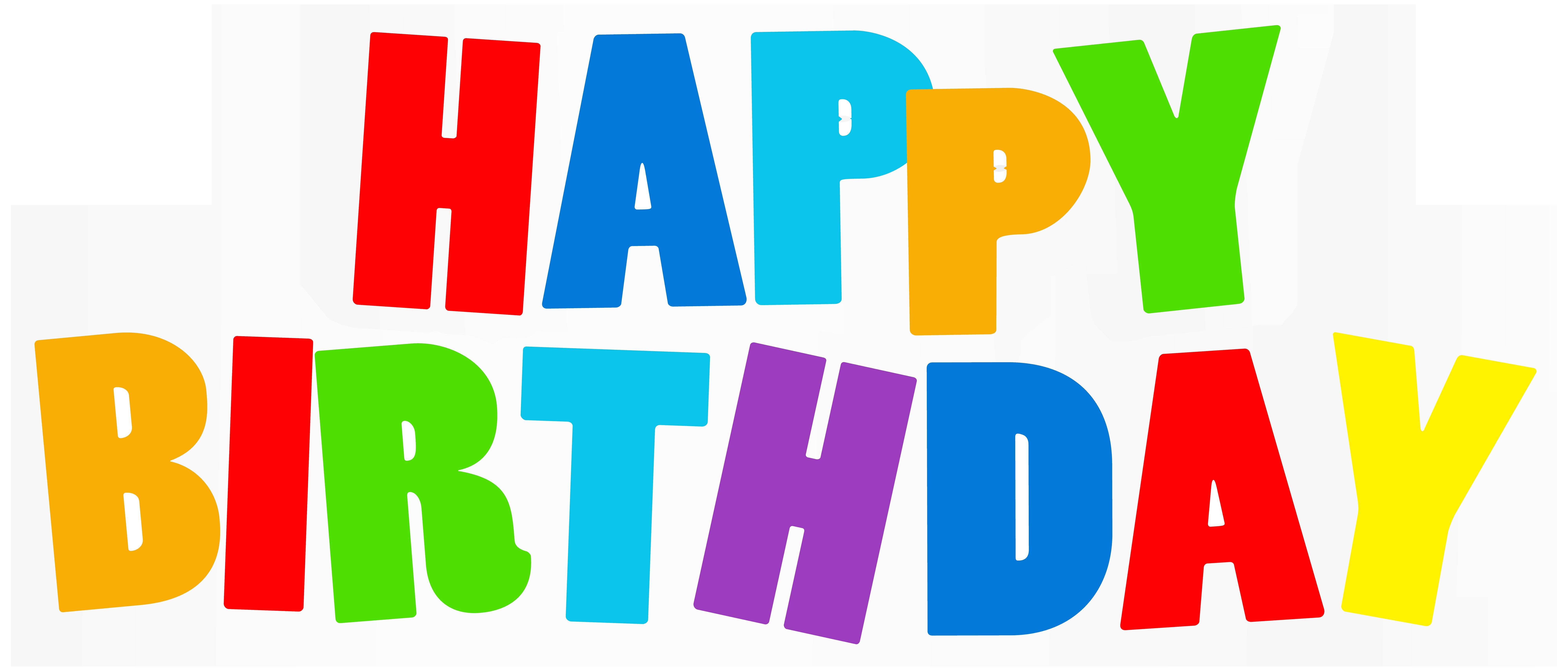 Clipart happy text. Birthday multicolor png clip