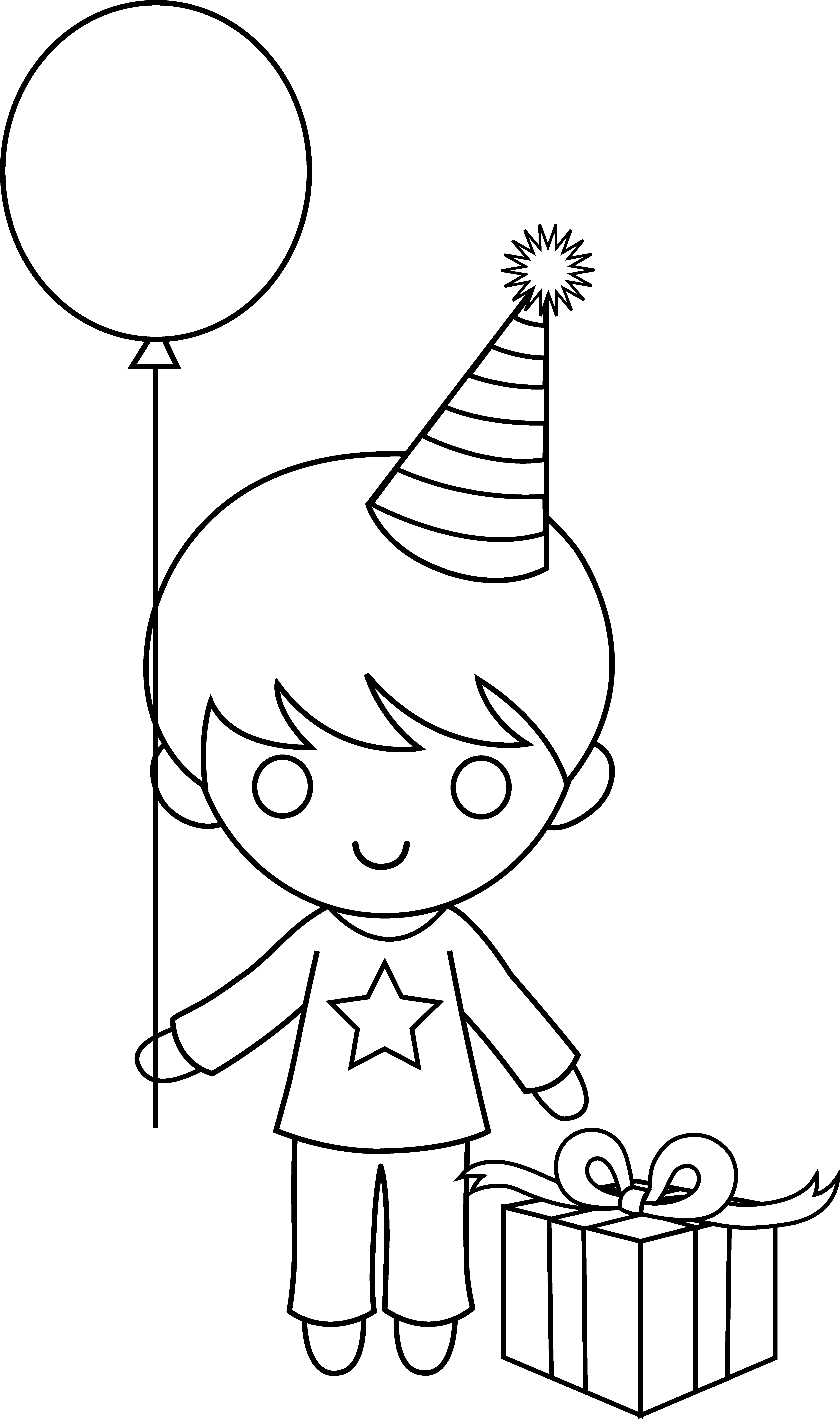 Birthday coloring page free. Color clipart boy