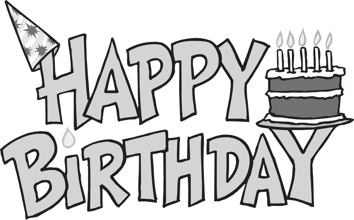 collection of happy. Clipart birthday outline