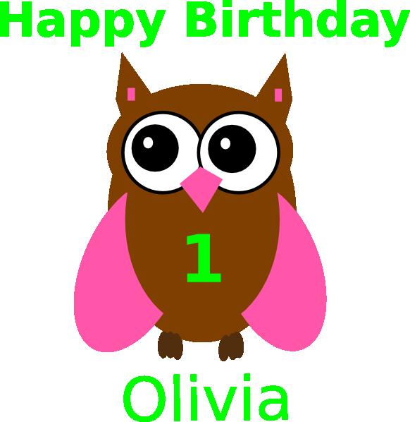 Clipart birthday owl. Pink olivia clip art