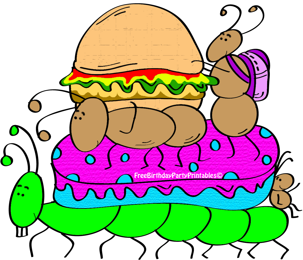 Hamburger clipart printable. Ant picnic birthday party