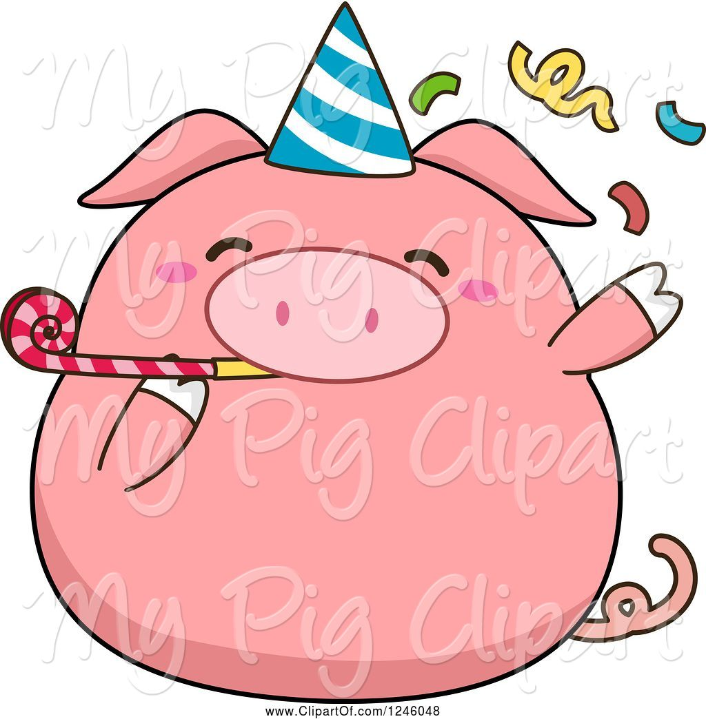 Swine of cartoon pink. Clipart birthday pig