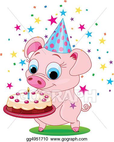 Clipart birthday pig. Vector art drawing gg