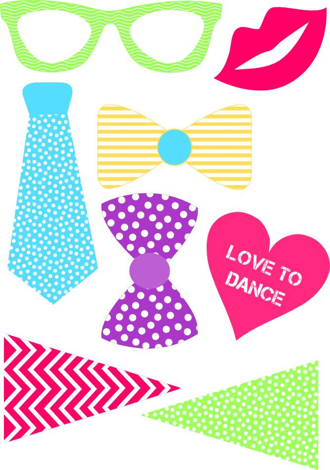 Diy free dance party. Hair clipart photo booth