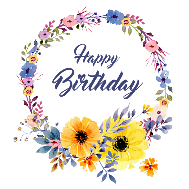 Floral vector png. Birthday and psd
