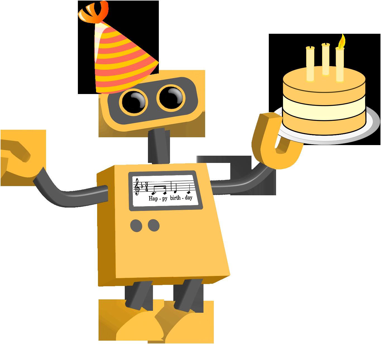 Tech cartoons tim bot. Clipart birthday robot