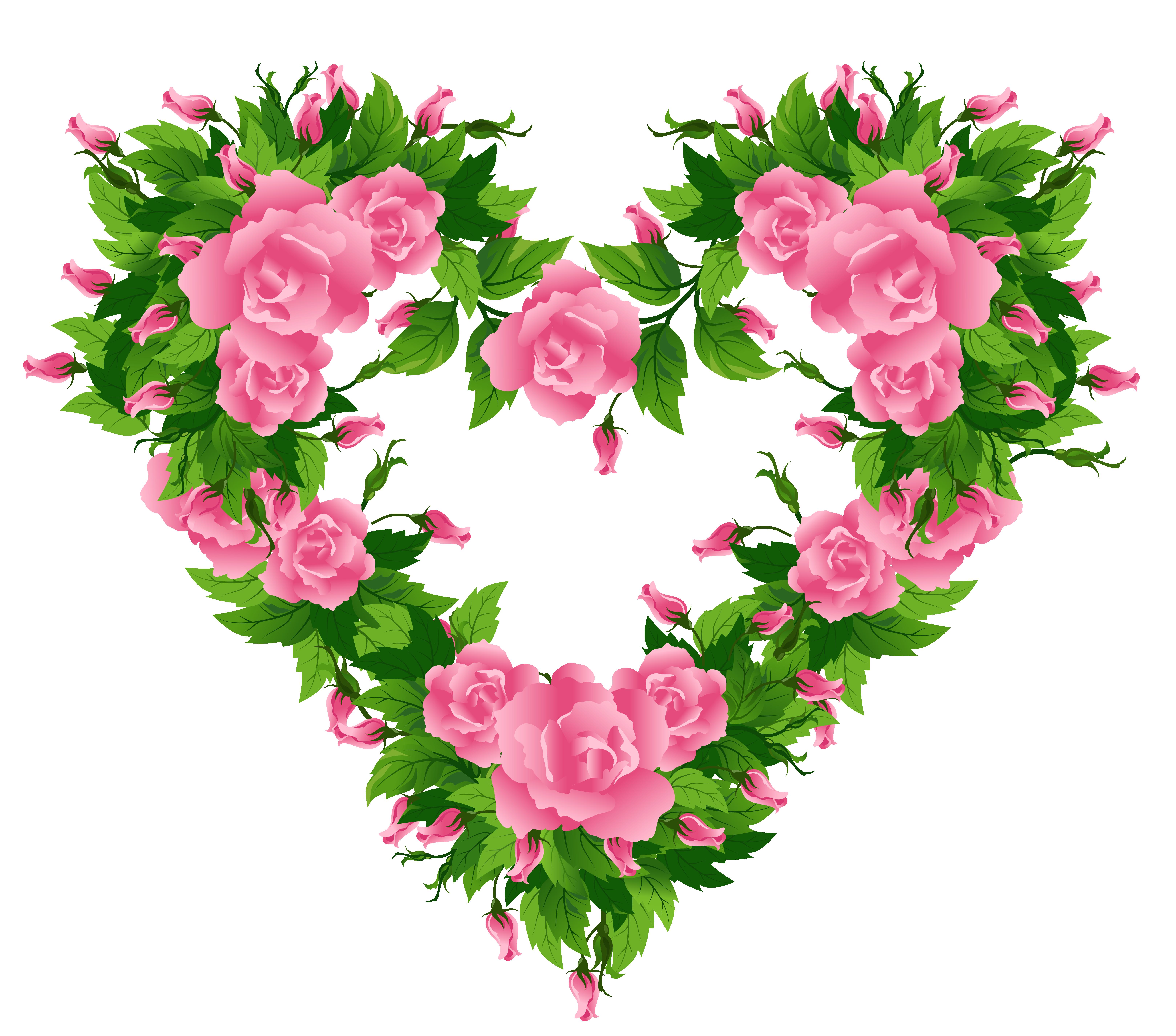 Hearts clipart garden. Pink roses heart decor