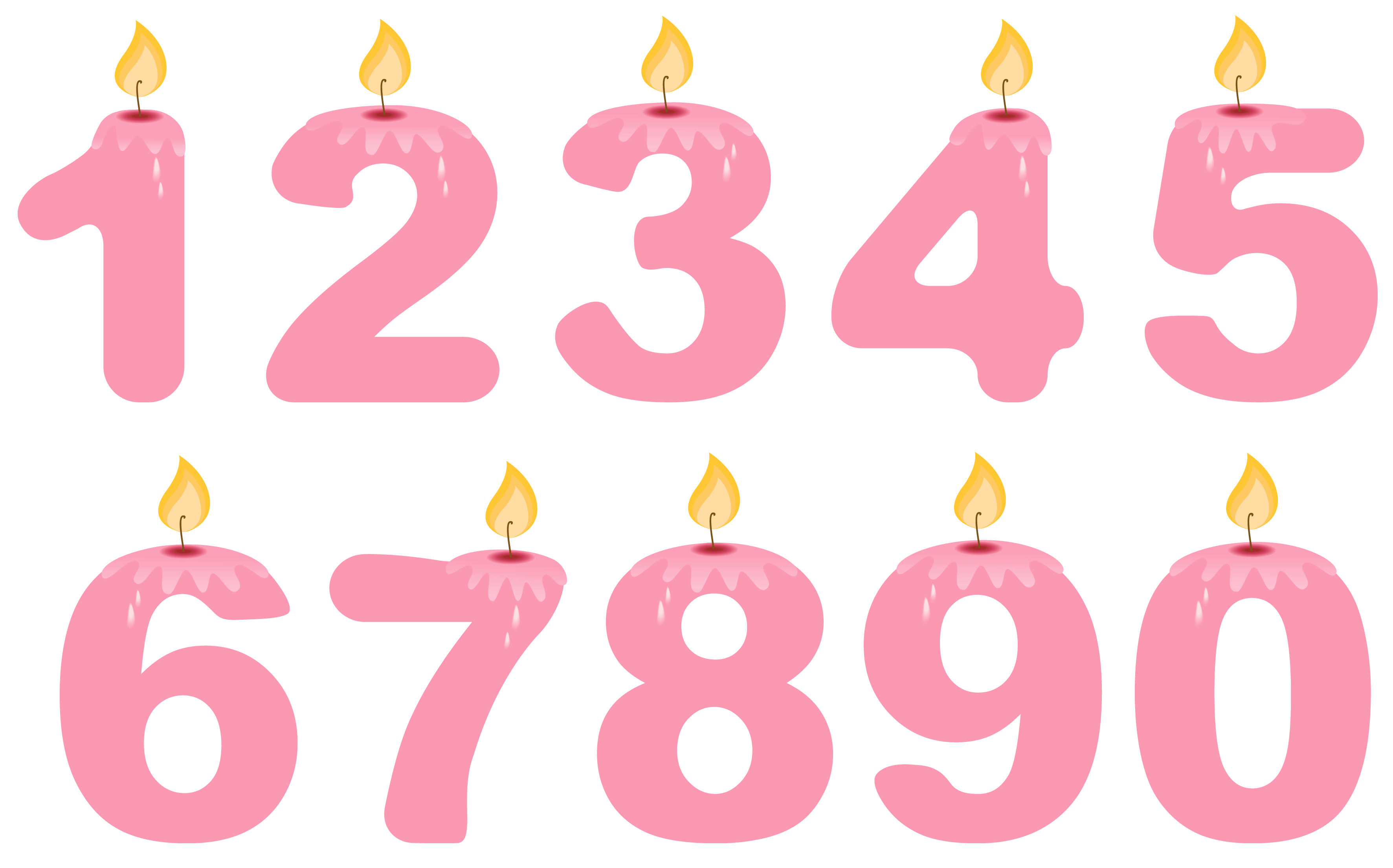 Transparent numbers candles pink. Clipart rose birthday